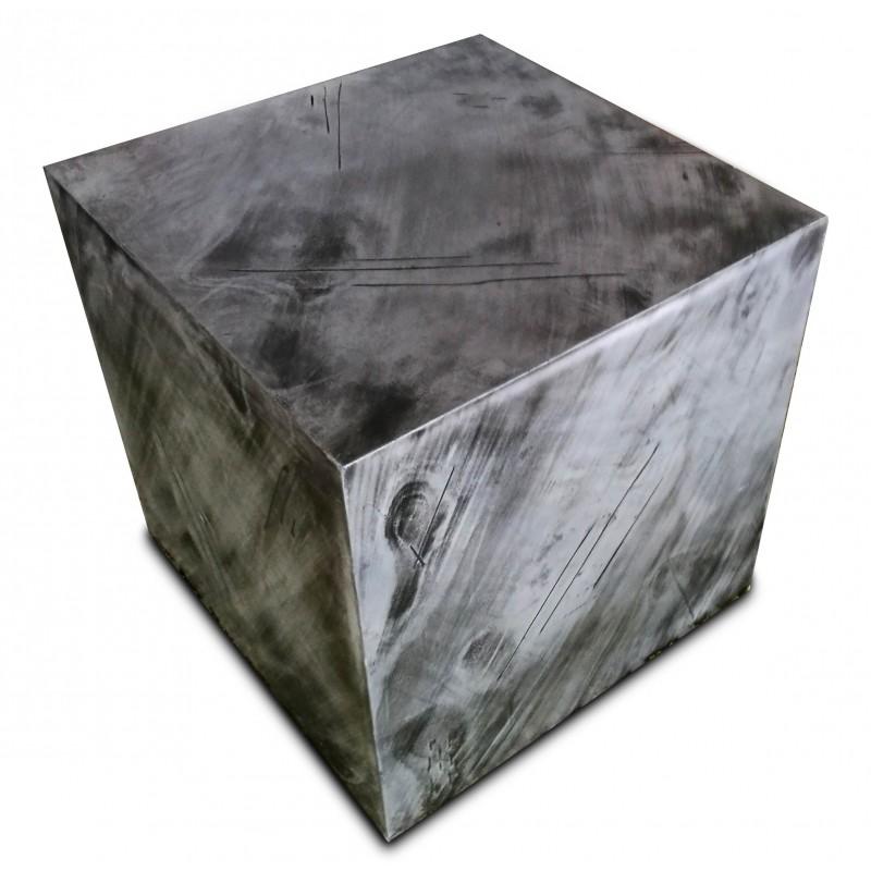 L'hexaèdre régulier - Pouf métallique style industriel en forme de cube